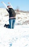 Salto de la mujer joven de la alegría Fotos de archivo libres de regalías