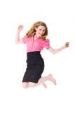 Salto de la victoria, empresaria atractiva en camisa Imagen de archivo