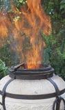 Salto de las llamas fuera del tandoor Imagen de archivo