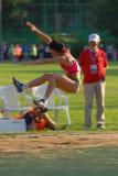 Salto de longitud de Tatyana Lebedeva Foto de archivo