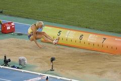 Salto de longitud, mujeres Fotografía de archivo