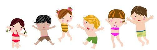 Salto de los niños del verano Imagen de archivo libre de regalías