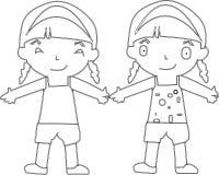 Salto de los niños de la historieta Ejemplo del clip art del vector con pendientes simples cada uno en una capa separada - Vector ilustración del vector