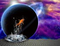 Salto de los pescados en escena extraña libre illustration