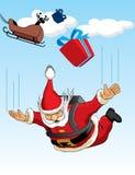 Salto de pára-quedas de Papai Noel Imagem de Stock