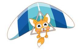 Salto de paraquedas bonito do esquilo dos desenhos animados Imagem de Stock