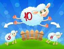 Salto de Sheeps sobre a cerca. Vetor Ilustração do Vetor
