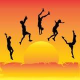 Salto de The Sun stock de ilustración