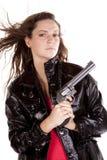 Salto dei capelli della pistola della donna Fotografie Stock