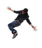 Salto del bailarín del estilo de Hip Hop imagenes de archivo