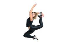Salto del ballerino della donna isolato a bianco Immagini Stock