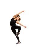 Salto del ballerino della donna isolato a bianco Fotografia Stock