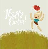 Salto del coniglietto di pasqua carta piacevole del fumetto di colori Immagine Stock