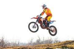 Salto del corridore di Motocros Fotografia Stock Libera da Diritti