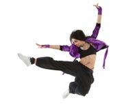 Salto del danzatore del luppolo dell'anca Fotografie Stock Libere da Diritti