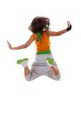 Salto del danzatore della donna Fotografia Stock