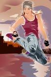 Salto del danzatore della giovane donna Immagini Stock Libere da Diritti