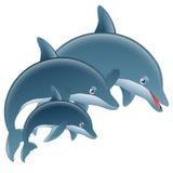 Salto del delfín de la historieta stock de ilustración