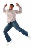 Salto del maschio dell'afroamericano Fotografia Stock