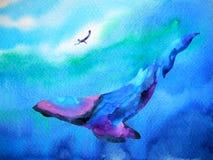 Salto del ser humano y de la ballena que nada bajo el agua junto la acuarela Foto de archivo