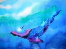 Salto del ser humano y de la ballena que nada bajo el agua junto la acuarela Fotos de archivo