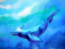 Salto del ser humano y de la ballena que nada bajo el agua junto la acuarela Imagenes de archivo