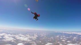 Salto del tandem del paracadutista stock footage