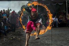 Salto dell'attrazione sopra un fuoco del cerchio fotografia stock libera da diritti