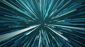 Salto dell'iperspazio in blu illustrazione di stock