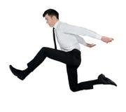 Salto dell'uomo di affari grande Fotografie Stock