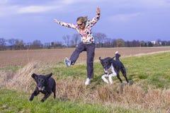 Salto della donna Fotografie Stock Libere da Diritti