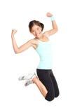 Salto della donna di forma fisica Fotografia Stock Libera da Diritti