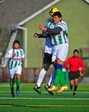 Salto di calcio del randello del Mens Fotografie Stock Libere da Diritti