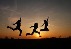 Salto di gioia Fotografia Stock