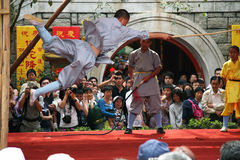Salto di Kung Fu Fotografie Stock