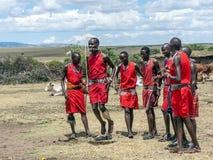Salto di Mara dei masai Fotografia Stock