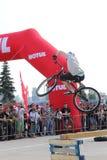 Salto di prova del motociclista Fotografia Stock Libera da Diritti