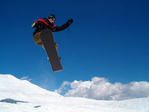 Salto di Snowborder Fotografie Stock
