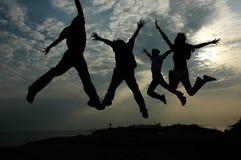 Salto di successo Fotografia Stock
