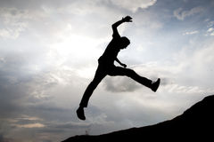 Salto di successo Immagine Stock