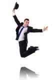 Salto divertente dell'uomo d'affari Fotografie Stock Libere da Diritti