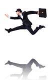 Salto divertido del hombre de negocios Imagen de archivo libre de regalías