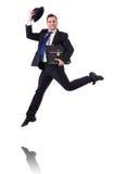 Salto divertido del hombre de negocios Fotografía de archivo libre de regalías