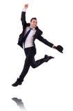 Salto divertido del hombre de negocios Imagenes de archivo