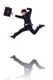 Salto divertido del hombre de negocios Foto de archivo libre de regalías