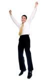 Salto do homem de negócio da alegria Foto de Stock
