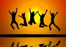 Salto do por do sol Imagem de Stock Royalty Free