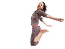 Salto e mosca della donna di sport immagini stock