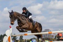 Salto ecuestre de la muchacha del caballo Imagen de archivo libre de regalías
