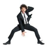 Salto emocionado del hombre de negocios Fotos de archivo